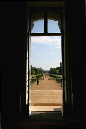 wrest: View from inside of Wrest House looking towards Archer Pavillion through the French Garden, Wrest Park, near Silsoe, Bedfordshire, England