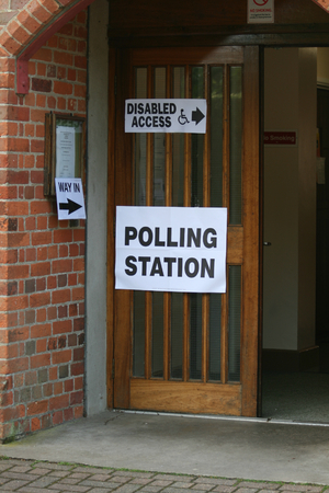 polling station: Polling Station entrance, Village Hall, Gosfield, Essex, England Stock Photo