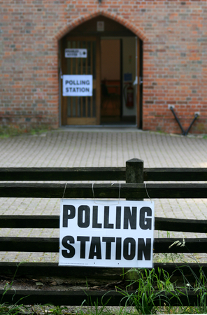 polling: Polling Station sign and entrance, Village Hall, Gosfield, Essex, England Stock Photo