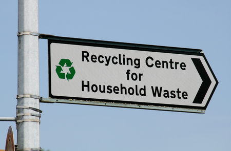 household waste: Recycling Centre for Household Waste direction sign, Witham, Essex, England Stock Photo