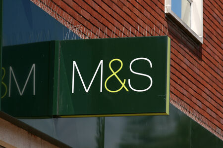 spencer: M and S shop sign, High Street, Chelmsford, Essex, England