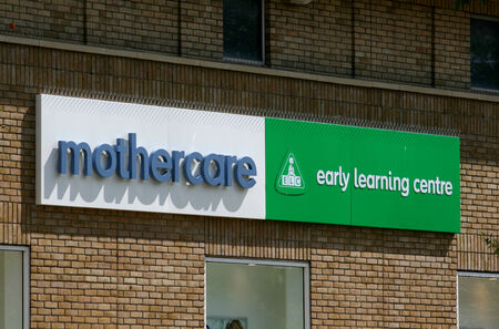 mothercare: Mothercare and Early Learning Centre shop sign, City centre, Chelmsford, Essex, England
