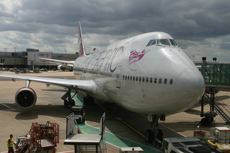 west sussex: LONDON - AUG 6, 2014 Virgin Atlantic Boeing 747 at the gate at the South Terminal, Gatwick Airport, West Sussex, England