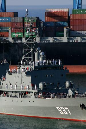 Algierski: GENOA, ITALY - AUGUST 6, 2014  -  Algerian navy frigate ANS Soummam arriving in Genoa Port, Italy Publikacyjne