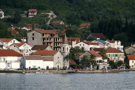 kotor: Coastline buildings of Muo, Bay of Kotor, Montenegro Stock Photo