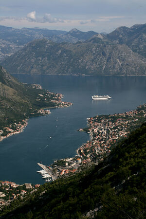Elevated view of Kotor with surrounding mountains and Bay of Kotor, Montenegro photo