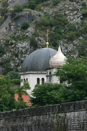 fortified: St  Nicholas Church behind fortified town wall, Kotor, Montenegro