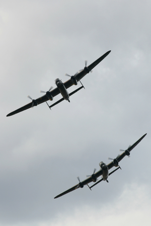 Little Gransden near Cambridge - 24 AUG 2014 - Air and Car Show - Two Avro Lancasters in formation
