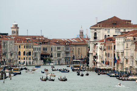 Entrance to Grand Canal from the  San Marco Basin,Venice, Italy photo