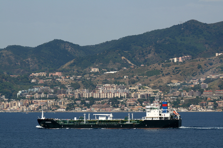 mainland: A chemical and oil products tanker passes through the Messina Strait between Sicily and the mainland of Italy