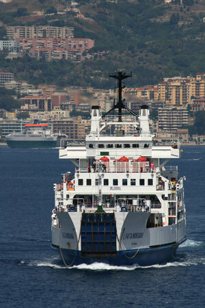 mainland: Ferry crosses the Messina Strait from Sicily to the mainland of Italy