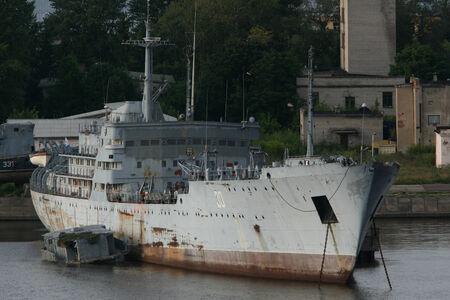 dockyard: Naval dockyard at Kronstadt, near St Petersberg, Russia Stock Photo