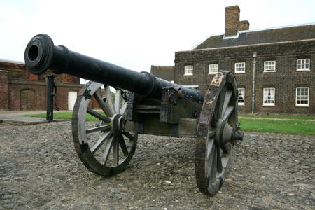 barracks: Cannon with Officers Barracks behind, Tilbury Fort, Tilbury, Essex, England