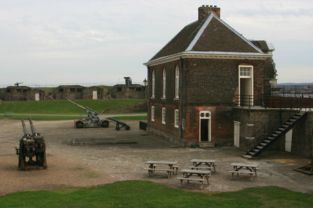 guard house: Corner of Parade Ground with Chapel and Guard House building, Tilbury Fort, Tilbury, Essex, England