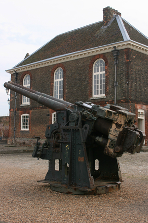 guard house: Gun with Chapel and Guard House behind, Tilbury Fort, Tilbury, Essex, England