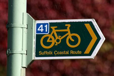 suffolk: Suffolk Coastal Ride cycle path sign, Orford, Suffolk, England