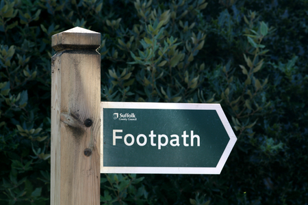 suffolk: Suffolk County Council footpath sign, Orford, Suffolk, England