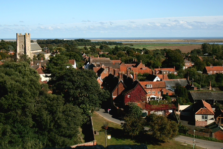 View from top of Orford Castle of the town, Orford, Suffolk, England