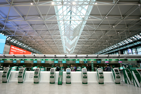 Alitalia self check in machines and desks in Terminal 1 of Fiumicino Airport in Rome, Italy