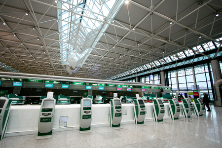 Alitalia self check in machines in Terminal 1 of Fiumicino Airport in Rome, Italy Editorial