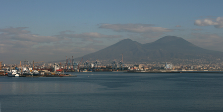 The Bay of Naples and Mount Vesuvius in Naples, Italy photo