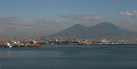 naples: The Bay of Naples and Mount Vesuvius in Naples, Italy Stock Photo