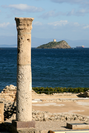 roman pillar: Ancient ruins of Nora on Sardinia, Italy