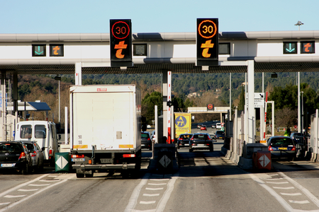 toll: Motorway toll point on road between Aix en Provence and Toulon, France