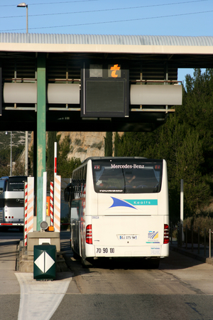 toulon: Motorway toll point on road between Aix en Provence and Toulon, France