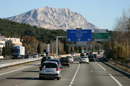 The Montagne Ste Victoire seen from the motorway near Aix en Provence heading south towards Toulon, France