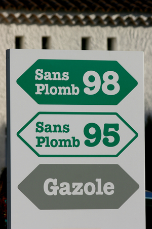 unleaded: Unleaded, super unleaded and diesel fuel sign at motorway service station near Aix en Provence, France