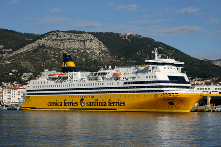 toulon: MS Mega Smeralda is a ferry of the Corsica Sardinia Ferry Company seen here at the Port of  Toulon, France Editorial