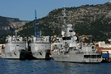 destroyer: Two Durance class replenishment ships and a Cassard class destroyer of the French Navy docked in the naval port at Toulon, France