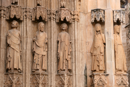 disciples: Stone carvings of disciples on the exterior of Valencia Cathedral in Valencia, Spain Stock Photo