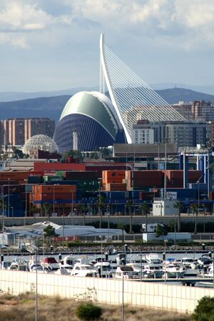 sciences: The City of Arts and Sciences seen from the Port of Valencia, Spain