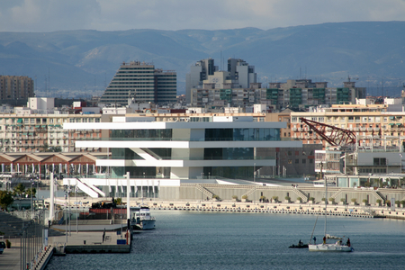 venue: Venue of The Americas Cup in 2010 with the Fodereck Building in the Port of Valencia, Spain