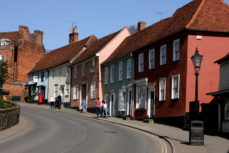 essex: Colurful houses in the town centre,Thaxted, Essex, England Editorial