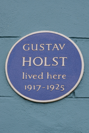 blue plaque: Gustav Holst blue plaque on house in town centre, Thaxted, Essex, England