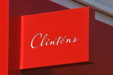 essex: Clintons greetings card shop sign, High Street, Chelmsford, Essex, England