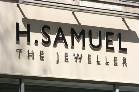 H Samuel jeweller shop sign, High Street, Chelmsford, Essex, England