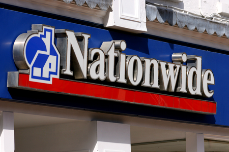 nationwide: Nationwide Building Society sign, High Street, Chelmsford, Essex, England