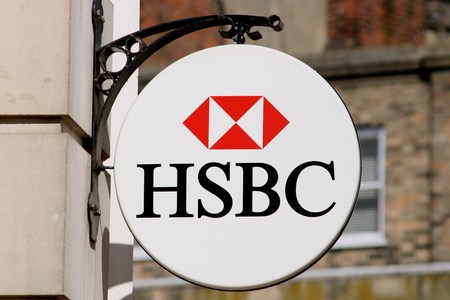HSBC bank sign, High Street, Chelmsford, Essex, England Editorial