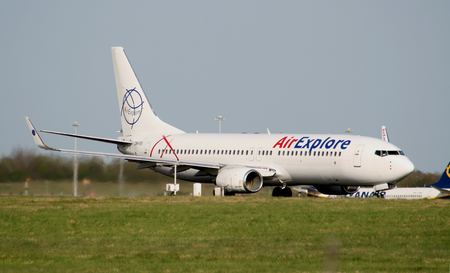 boeing: AirExplore, Boeing 737-8Q8, OM-FEX taking off at Stansted Airport, Essex, England