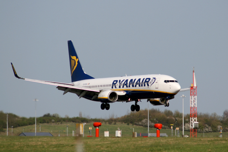 Ryanair, Boeing 737-8AS, EI-DCW landing at Stansted Airport, Essex, England Editorial