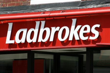 essex: Ladbrokes bookmakers sign Newland Street Witham Essex England Editorial
