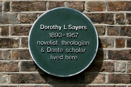 novelist: Green plaque showing where Dorothy L Sayers the novelist lived in Newland Street Witham Essex England Editorial