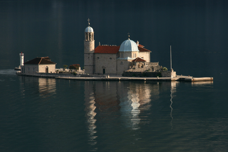 kotor: Island church of Our lady of the Rock Perast Bay of Kotor Montenegro Stock Photo