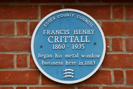 placa bacteriana: Francis Crittall placa azul en George Yard, Braintree, Essex, Inglaterra