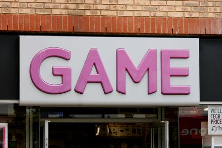 yard sign: Game computer games shop sign in George Yard, Braintree, Essex, England