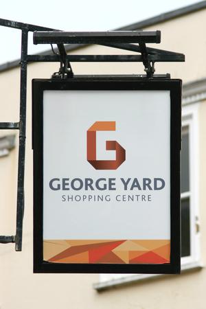 yard sign: George Yard Shopping Centre sign, Braintree, Essex, England